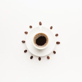 Top view fresh cup of coffee