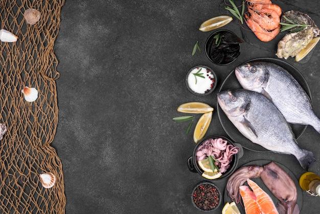 Вид сверху свежей рыбы и рыбной сети с копией пространства