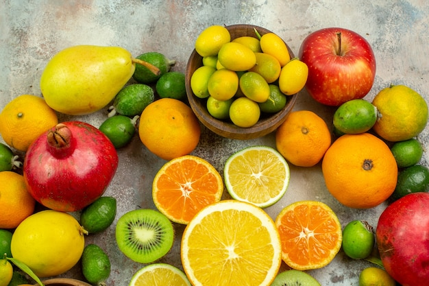 Top view fresh fruits different mellow fruits on white background tree tasty photo ripe color health berry citrus