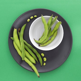 Top view fresh green beans on the table