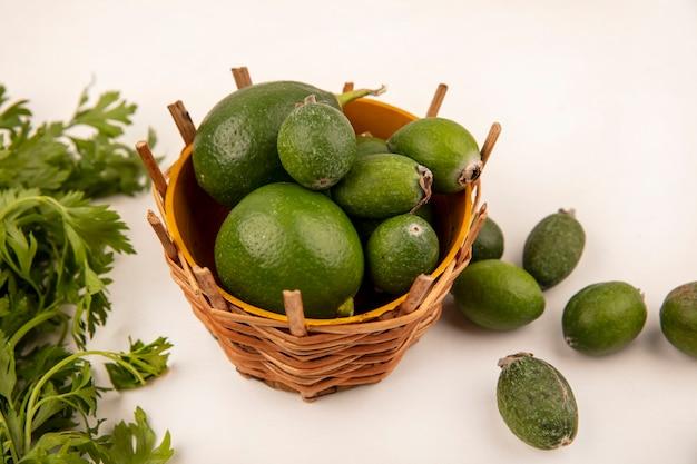 Vista dall'alto di lime verdi freschi su un secchio con feijoas e prezzemolo isolato su una parete bianca