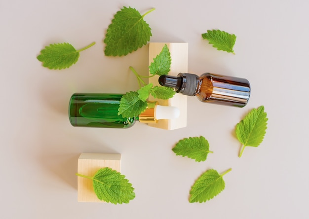 Top view of fresh green mint or spearmint leaves and glass dropper bottles of mint essential oil on gray background. natural herbal medical aromatic plant concept.
