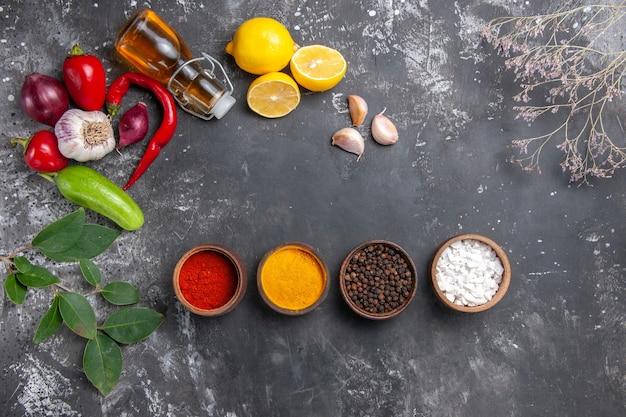 Top view fresh ingredients with lemon and seasonings