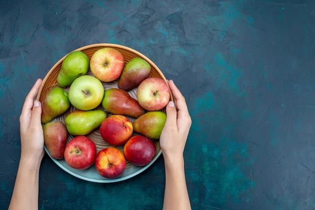 上面図紺色の床のプレート内の新鮮なまろやかな果物梨とリンゴ果物新鮮な熟したまろやかなビタミン