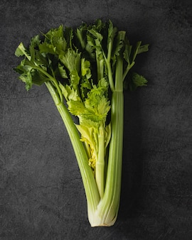 Вид сверху свежий питательный зеленый салат