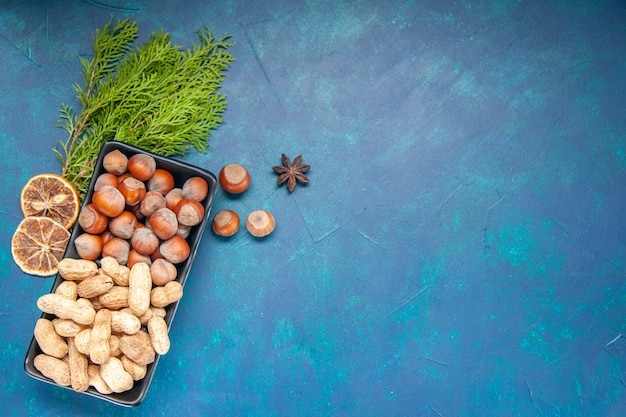 Top view fresh nuts hazelnuts and peanuts on blue background walnut color snack cips plant tree nut photo
