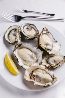 Top view of fresh oysters served in white plate with sliced of lemon on white tablecloth