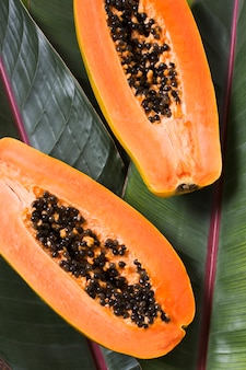 Top view fresh papayas ready to be served