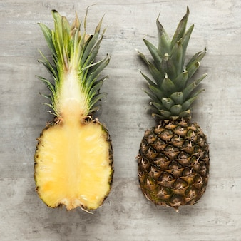 Top view fresh pineapple on the table