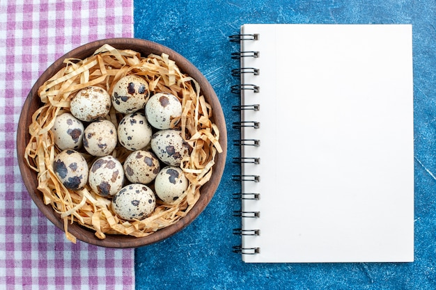 Vista dall'alto delle uova di allevamento di pollame fresco in un cesto di tessuto in una ciotola marrone su un asciugamano spogliato viola e un quaderno a spirale su sfondo blu