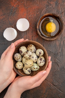 Vista dall'alto uova di quaglia fresche con uovo crudo all'interno del piatto sul tavolo scuro