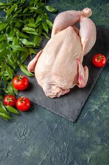 Vista dall'alto pollo crudo fresco con pomodori rossi su sfondo scuro farina di pollo foto di carne animale cucina colorante alimentare