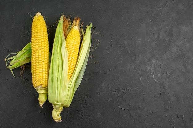 Top view fresh raw corns