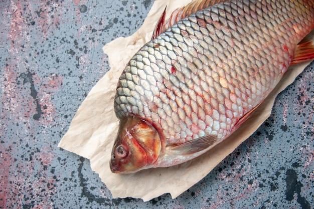 Vista dall'alto pesce crudo fresco su sfondo blu