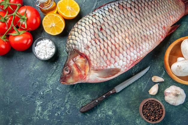진한 파란색 배경에 상위 뷰 신선한 생선