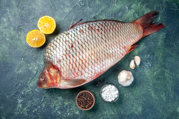 紺色の背景に新鮮な生の魚の上面図