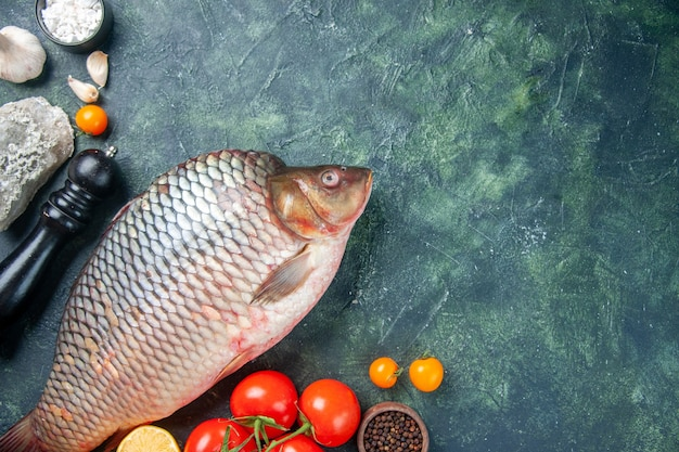 Vista dall'alto pesce crudo fresco con pomodori e funghi su sfondo blu scuro