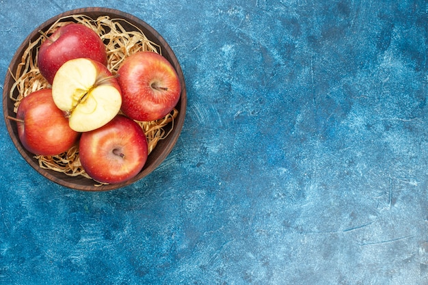 Vista dall'alto mele rosse fresche all'interno del piatto sul tavolo blu foto albero di colore maturo frutta vita sana pera spazio libero