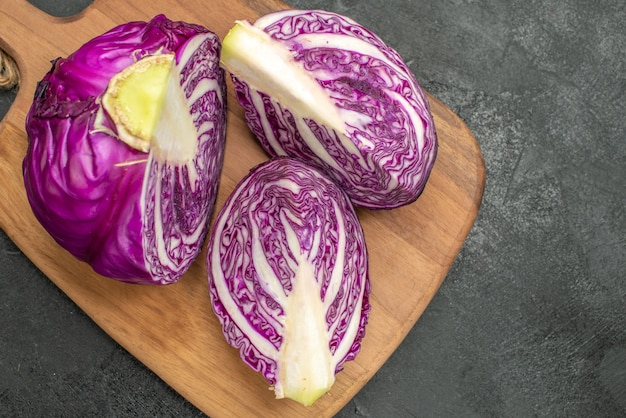 Top view of fresh red cabbage sliced
