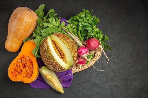 Top view of fresh ripe pumpkin sliced fruit