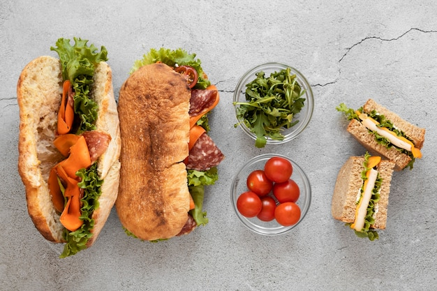 Top view fresh sandwiches composition on cement background