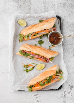 Top view of fresh sandwiches on tray