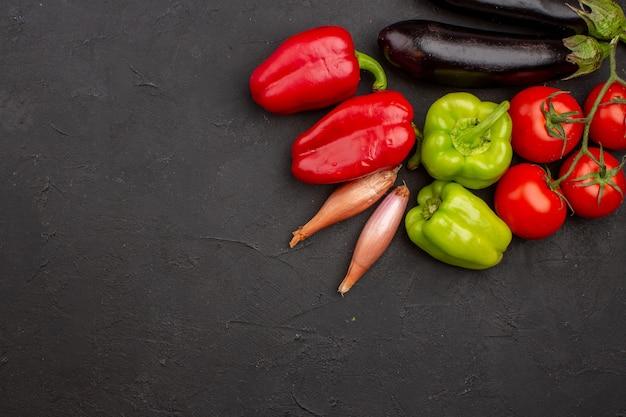 Top view fresh vegetables on grey background meal salad health food vegetable