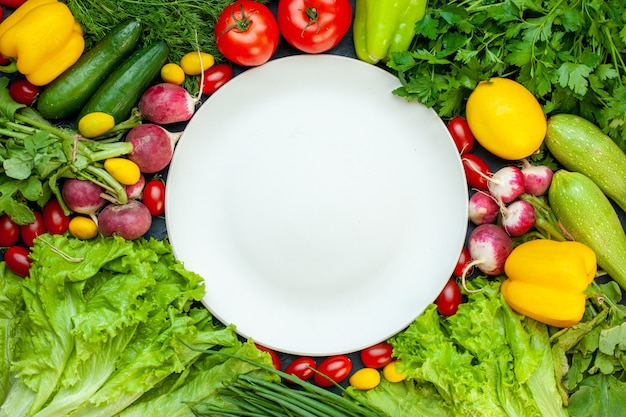 Top view fresh vegetables parsley bell peppers lettuce dill lemon tomatoes radish white round plate on dark surface