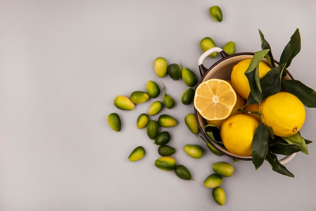 Top view of fresh yellow lemons on a bowl with kinkans isolated on a white wall with copy space