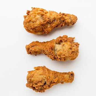Top view fried chicken drumsticks