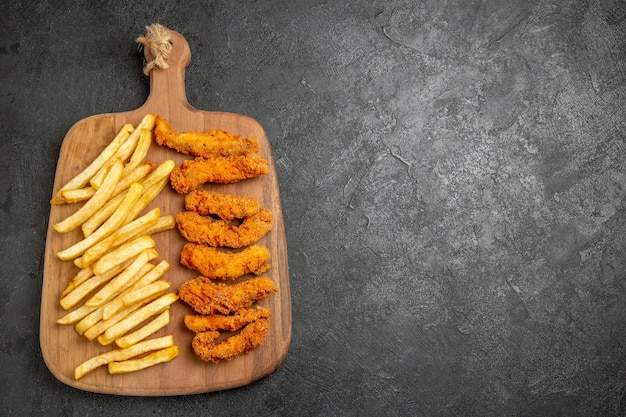 Top view of fried chicken and french fries