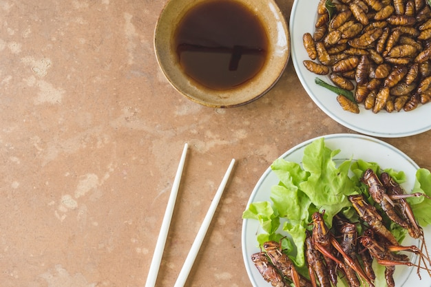 Top view of fried insects in dish with sauce on wooden table. copy space
