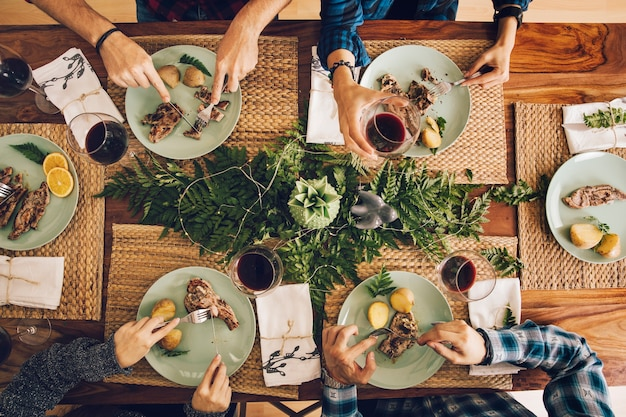 Top view of friends having a dinner