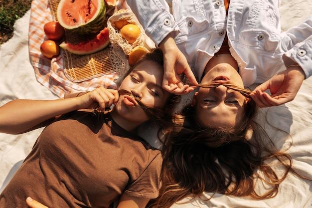 ピクニックをしながらリラックスしたトップビューの友達
