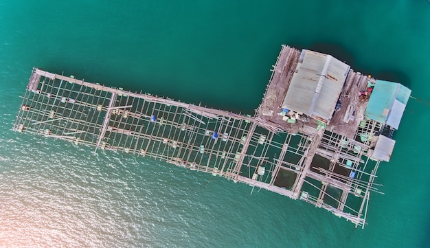 Top view from sky of floating sea house.