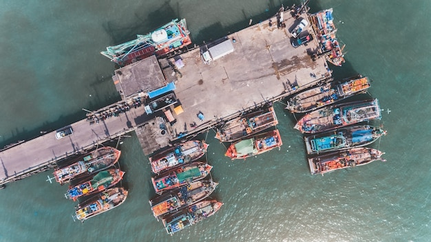 Top view from sky  group of wooden fishery boat.