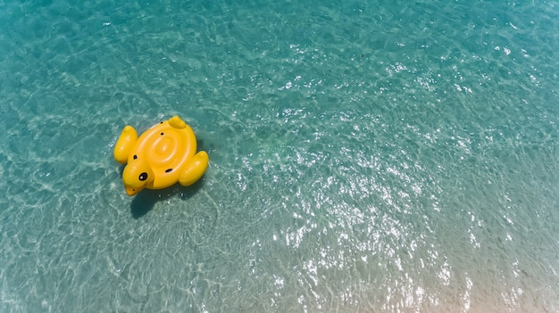 오리 수영 lifebuoy의 하늘에서 상위 뷰입니다.