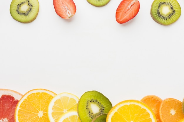 Top view of fruit assortement with copy space