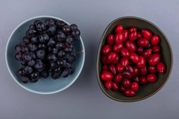 Vista dall'alto di frutti come bacche di corniolo e prugnole in ciotole su sfondo grigio