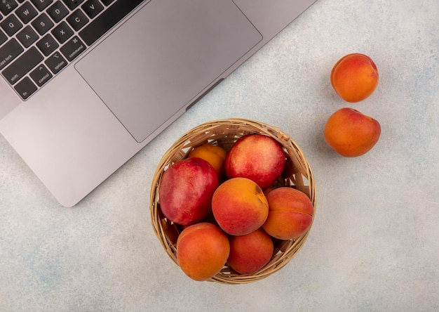 Top view of fruits as peach and apricot in basket with note book on white background