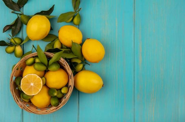 Vista dall'alto di frutti come kinkan e limoni sul secchio con limoni e kinkan isolati su una superficie di legno blu con spazio di copia