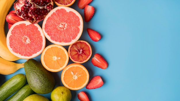 Top view fruits with copy-space
