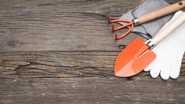 Top view gardening tools