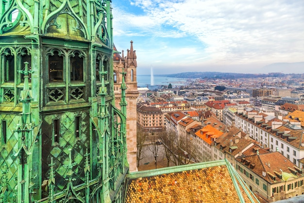 Top view of geneva skyline from the cathedral of saint-pierre in switzerland