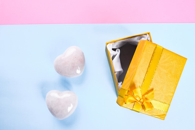 Top view of a gift box for valentine's day