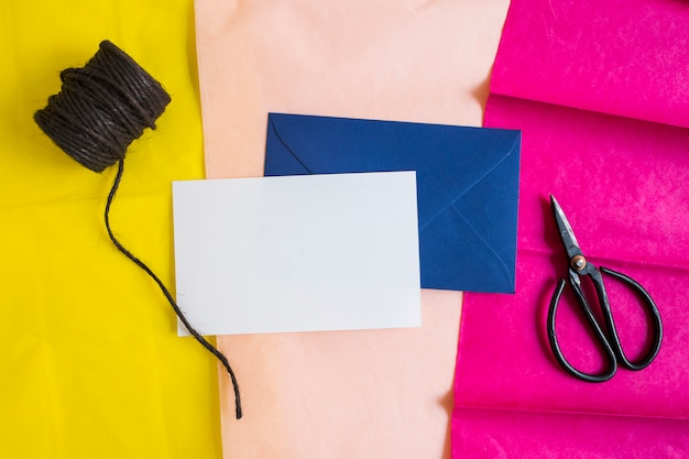 Top view gift envelope pack with card