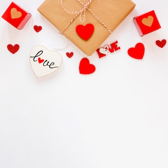 Top view of gift with hearts and copy space for valentines