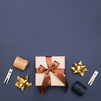 Top view gift wrapping composition with copy space