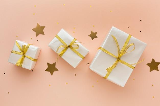 Вид сверху подарки для вечеринки
