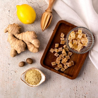 Top view of ginger food concept